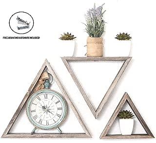 BarnwoodUSA Rustic Shelves, Triangle Floating Wood Shadowbox, Home Decor, Set of 3 (Natural Weathered Gray)