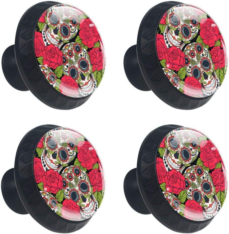 Shiiny Sugar Skull and Red Roses Knob Cabinet Pull Denver Mall 40% OFF Cheap Sale Drawer Handle