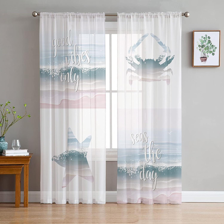 Fahome 2 Panels Sheer 永遠の定番 Window 豊富な品 Theme Beach Starfis Curtains Ocean