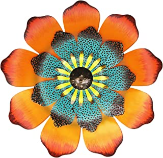 Best Juegoal 16 Inch Large Metal Flower Outdoor Wall Decor Garden Hanging Decoration for Patio Bedroom Living Room Office, Orange Reviews