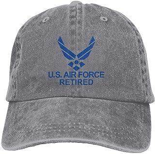 79f1eb341a4b17 DeReneletrc Unisex Us Air Force Retired USAF Low Profile Plain Baseball Cap  Vintage Washed Adjustable Dad
