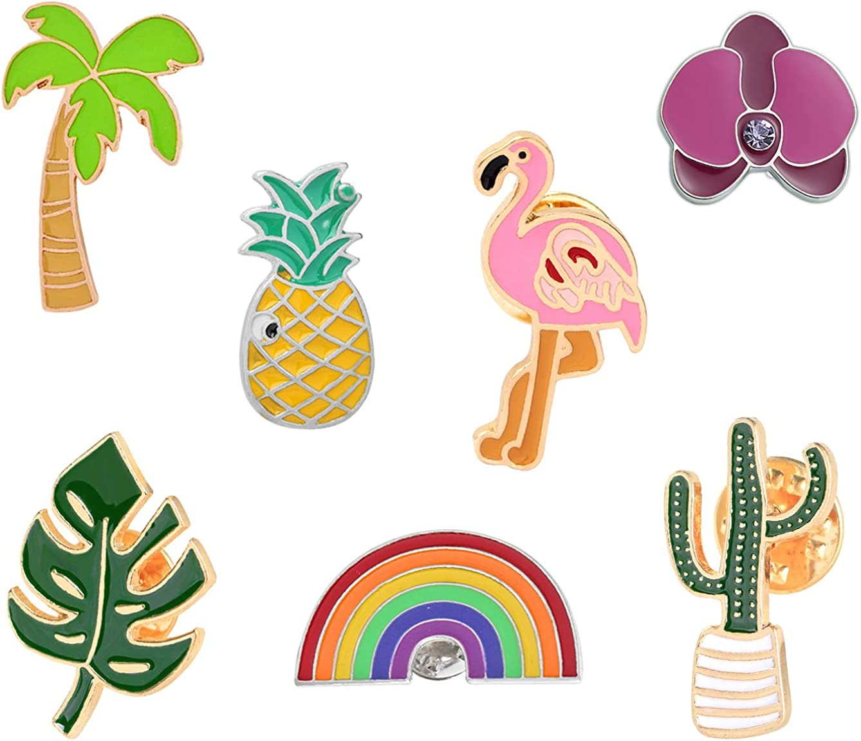 Enamel Pin Set Enamel Pins Cute Pins Funny Animal Lapel Pin Brooch Pins for Backpacks Cactus Enamel Pins