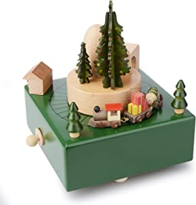 Takefuns Christmas Wooden Music Box Present Christmas Train Musical Box for Her,Musical Box Smart Castle Toy Birthday Present for Lover Friends and Children