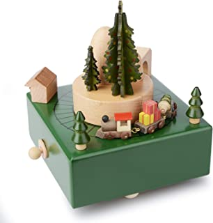 Takefuns Christmas Wooden Music Box Present Christmas Train Musical Box for Her,Musical Box Smart Castle Toy Birthday Pres...