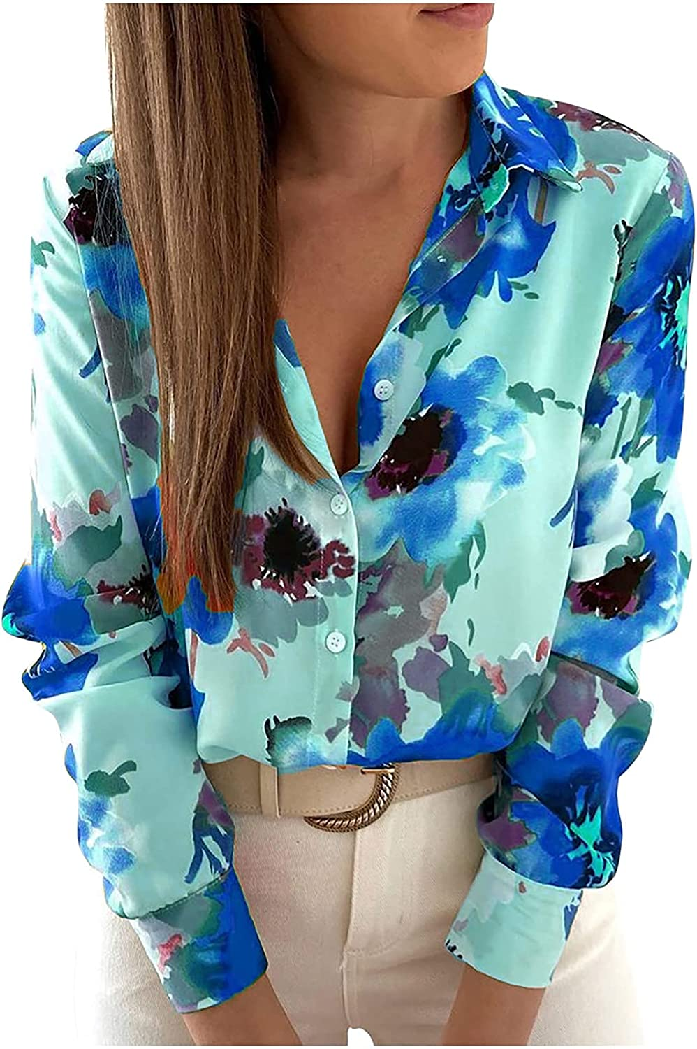 Long Sleeve Shirts Tops for Women Loose Fit Tunic Tops Button Fall Tees Fashion Floral Print Fall Blouses