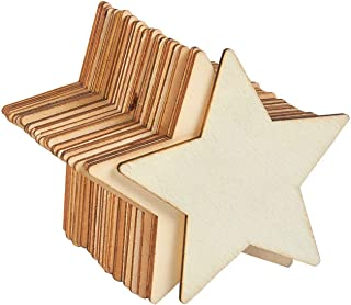 Unfinished Wood Cutout - 24-Pack Star Shaped Wood Pieces for Wooden Craft DIY Projects, Gift Tags, Home Decoration, 4 x 4 x 0.1 inches