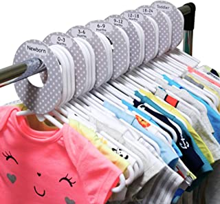 40 White Plastic Nursery Hangers with 8 Baby Closet Dividers Set, Plastic Clothes Organizers by Size from Newborn to Toddler, Neutral Grey Polka Dots for Boys and Girls, Fits 1.5 inch Rod