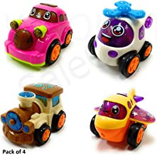 SaleON Set of 4 Unbreakable Friction Powered Automobile Car Helicopter Plane Train Toys for Kids (Mix-Color)-938