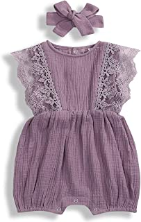 Baby Girls Lace Romper Set Ruffle Sleeve Solid Color Onesie with Headband