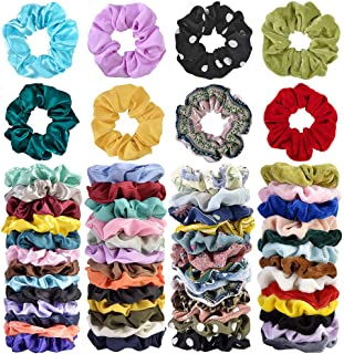 Cehomi 52Pcs Hair Scrunchies Velvet,Chiffon,Satin Elastic Hair Bands Scrunchy Bobbles Soft Hair Ties Ropes Ponytail Holder...