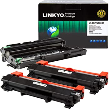 LINKYO Compatible Toner Cartridge and Drum Unit Replacement for Brother TN760 TN-760 DR730 (2 Black Toner, 1 Drum Unit)