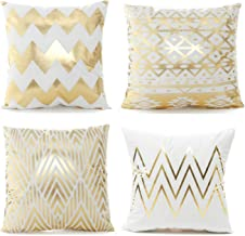 Elviros Set of 4 Decorative Throw Pillow Covers Hot Stamping White Cotton Cushion Cases for Farmhouse Sofa Home Decor 18x18 Inch