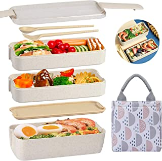 Aitsite Bento Box with Lunch Bag for Kids and Adults with Dividers - Leakproof Lunchbox with Utensils, Dividers Container Box