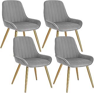 Lestarain 4X Sillas de Comedor Dining Chairs Sillas Tapizadas Paquete de 4 Sillas Cocina Nórdicas Terciopelo Sillas Bar Metal Silla de Oficina Gris Claro
