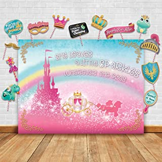 Sparkly Gold Royal Princess Theme Photography Backdrop and Studio Props DIY Kit. Great as Photo Booth Background Rainbow Pink Castle Birthday Party Supplies and Fairytale Baby Shower Decorations