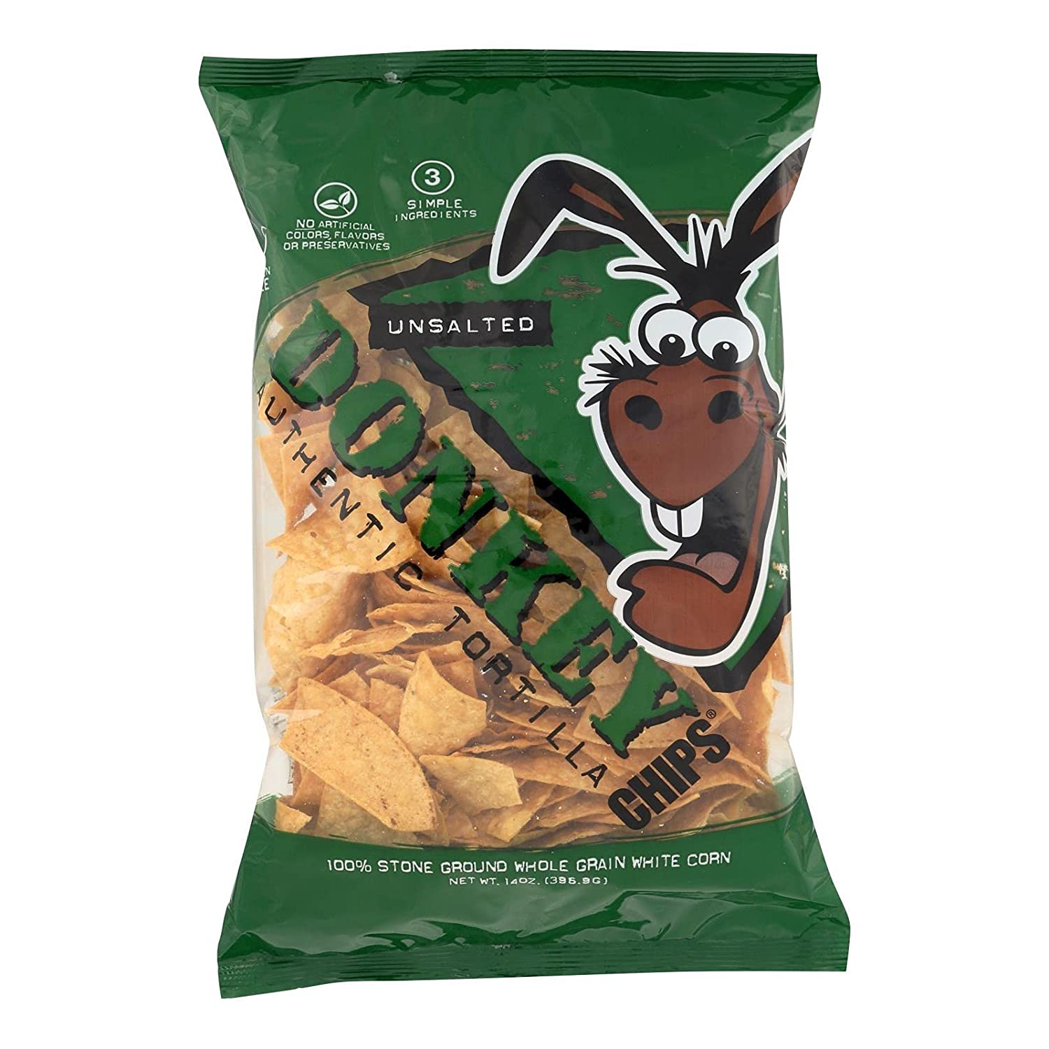 Donkey Authentic Tortilla Chips All Pack Natural Unsalted 14oz Free shipping anywhere in the Sale item nation