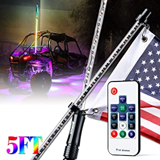 Xprite 5ft (1.5M) Dancing LED Whip Lights Flag Pole Safety Antenna with Remote Control Multi-Color RGB Chasing Lights for Offroad Jeep, Buggy Dunes, Can Am, ATV, UTV, Polaris RZR, Trophy Trucks, SXS