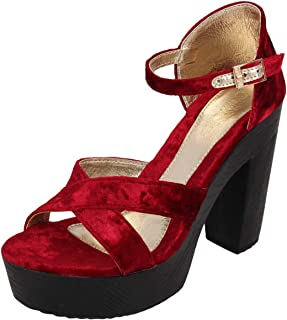 Catwalk Women's Cross Strap Velvet Sandals