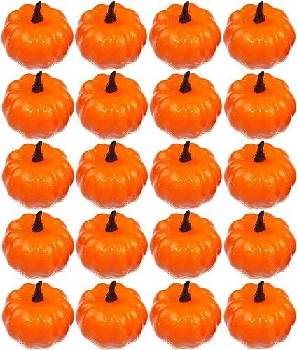 popular Artificial 2021 Mini Pumpkins Lifelike wholesale Simulation Pumpkins Fake Fruit for Fall Halloween Thanksgiving House Kitchen Decoration (20pcs) online
