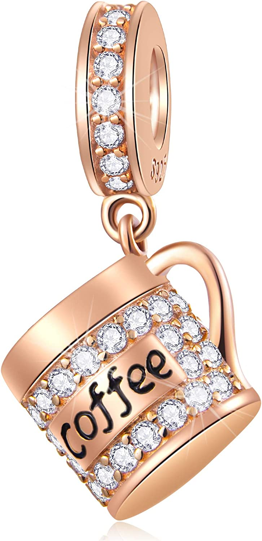 GEMDAZZ Take High order a Break Theme Charm Finally popular brand 925 Coffee Silver Cup Sterling