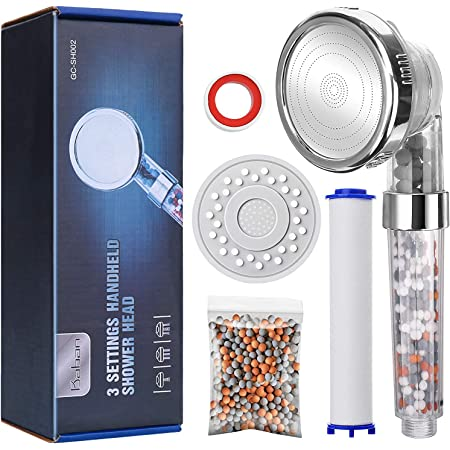 Baban Ionic Shower Head, Upgraded 4-Layer Filtration Universal Handheld Showerhead, Higher Pressure Water Saving with 3 Sprays Modes, Extra Filter Bead Replacement Panel & PP Cotton Filter Cartridge
