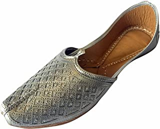 Step n Style Men's Flat Silver Wedding Khussa Shoes Traditional Indian Leather Loafer Punjabi Jutti