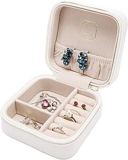 LELADY Small Jewellery Box Mini Travel Jewellery Boxes Case Portable Faux Leather Jewellery Storage Box Organiser for Women Girls (White)