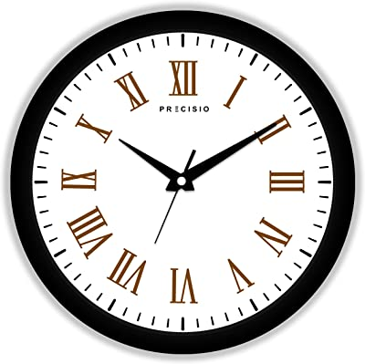 E Deals Printed Wall Clock 25X25 cm| Round Shaped Designer Wall Clock with Glass for Home/Living Room/Bedroom/Kitchen/Office (Silent Movement, Black Frame) | Small PWC-547