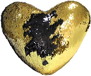 Boshen Sequin Throw Pillow Case Covers Reversible 16x14inch with Zipper Decorative Color Changing Set of 1 2 4 (Black+Gold/Heart Shaped, 1)