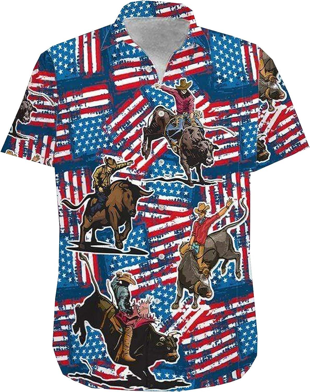 Cow Boy Riding Bull Men's Hawaiian Shirt Short Sleeves Printed Button Down Summer Beach Dress Shirts Series 184