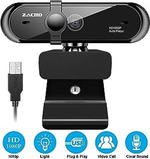 Zacro Cámara Web 1080P con Cubierta de privacidad y Micrófono, Webcam Cámara de Computadora Plegable con Enfoque Automático y Giratorio Ángulo, para Videollamadas, Conferencias, Grabación, Juegos ect