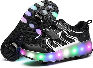 comprar comparacion Unisex Niñas Niño LED USB Recargar Zapatillas con Ruedas Doble Ronda Neutra Automática Telescópico Multifunción de Skate d...