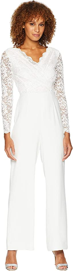 Long Sleeve Crepe/Sequin Lace Jumpsuit with V-Neckline