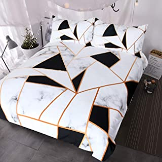 BlessLiving Marble Print Bedding White and Black Geometric Marble Duvet Cover 3 Pieces Elegant Faux Rose Gold Bed Sets (Queen)