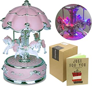 J JHOUSELIFESTYLE Carousel Music Box, Carousel Horse Music Box, Merry Go Round Music Box Carousel Music Boxes for Girls Granddaughters - Large Pink
