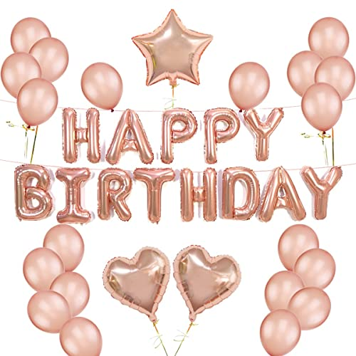 K KUMEED Rose Gold Balloons Decorations Set Happy Birthday Banner 12 Balloon And