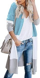 Womens Long Cardigan Sweaters Long Sleeve Lightweight Color Block Knit Open Front Sweaters Coat