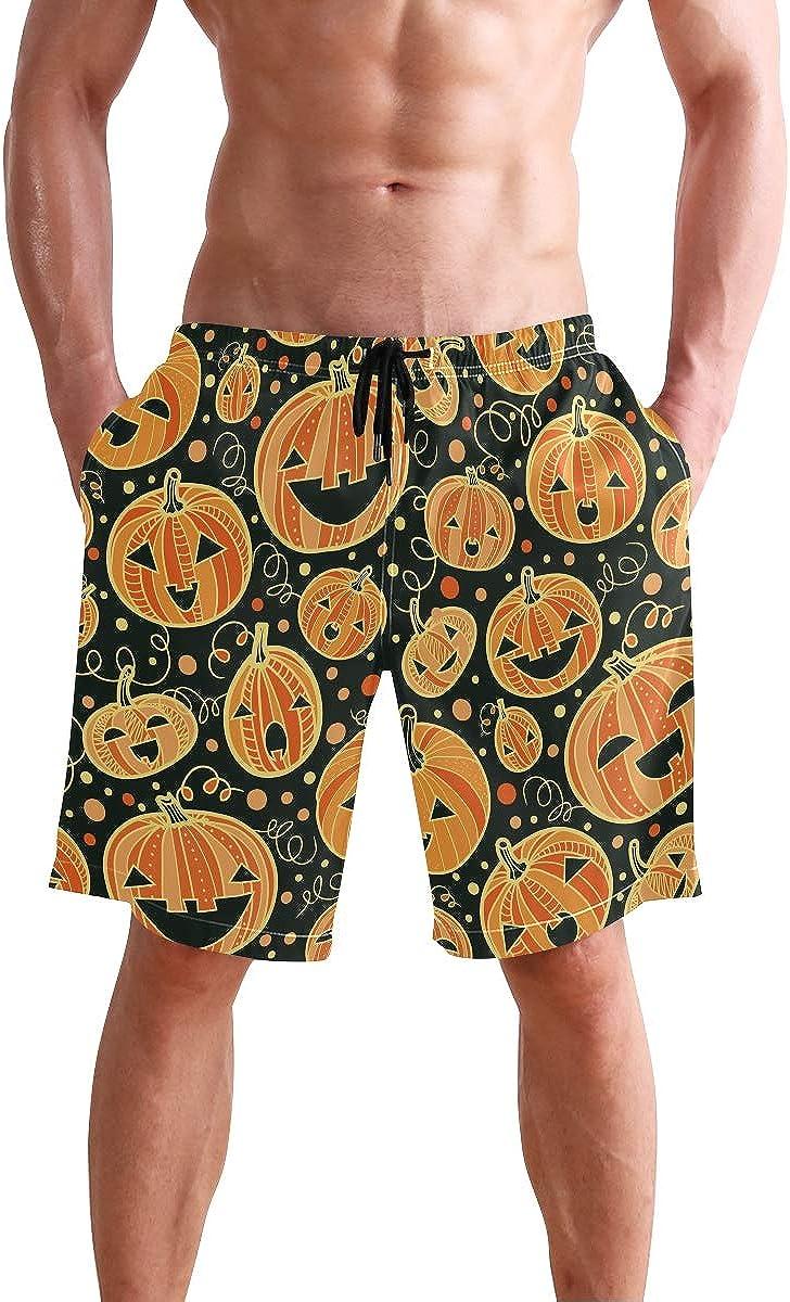 Mens Swim Trunks Halloween Orange Pumpkin Face Black Beach Board Shorts