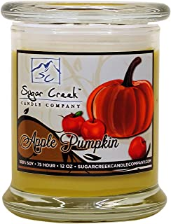 Sugar Creek | Apple Pumpkin Soy Scented Candle - Fall Candles Collection | 100% Natural - Non Toxic | 12 oz Heavy Glass Jar