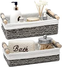 Duoer Round Paper Rope Storage Basket Wicker Baskets for Organizing with Handle Decorative Storage Bins for Countertop Toi...
