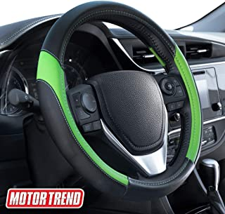 Motor Trend SW-814 Green + Black Sport Drive Perforated Leather Steering Wheel Cover with Contrast Stitching-Universal Fit for Standard Sizes 14.5 15 15.5 inches