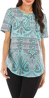 general3 Women Short Sleeve Tops Fashion Summer Floral Print Small V Neck Henley Shirt Button Blouse T-Shirts
