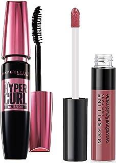 Maybelline New York Hypercurl Mascara Waterproof, Black, 9.2ml & Maybelline New York Sensational Liquid Matte Lipstick 06,...