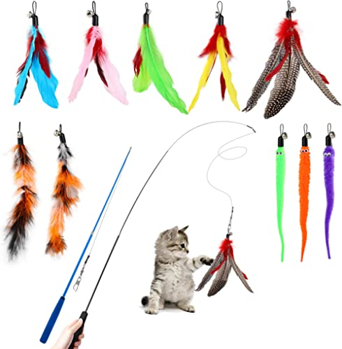 Hianjoo Feather Teaser Cat Toy Set 12 pcs, Interactive Toys for Cats 2 Retractable Cat Wand Funny Sticks and 10 Repla...