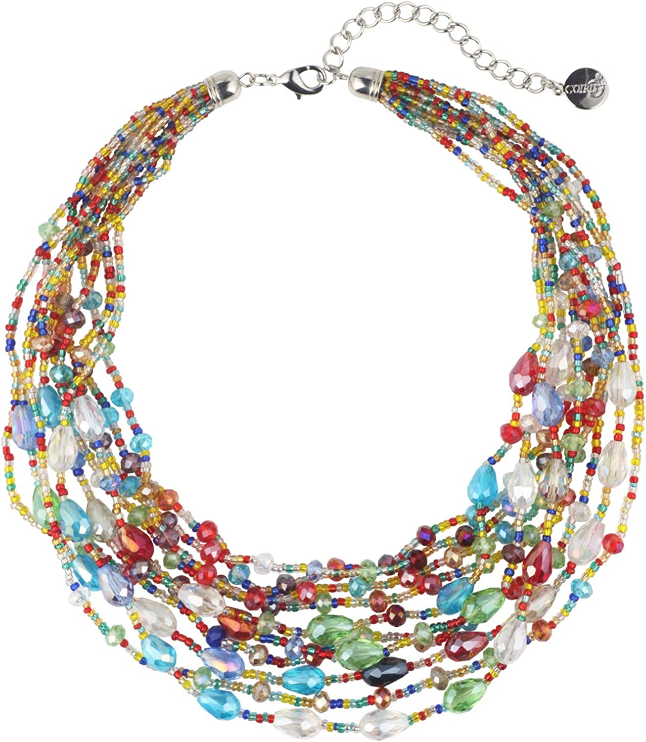 COIRIS Multi Strand Rainbow Crystal Colorful Seed beaded Statement Necklace for Women(N0071-Rainbow)