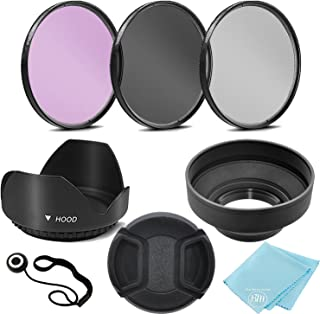 52mm 3 Piece Filter Kit (UV-CPL-FLD) + 52mm Tulip Lens Hood + 52mm Soft Rubber Hood + 52mm Lens Cap + for Select Canon, Ni...