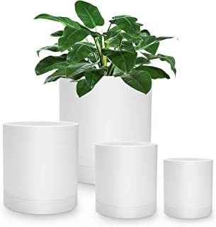White Planter Pots with Drainage -Indoor or Outdoor Modern Planter Set of 4 Plant Containers, 4,5,6,7 inch Garden Planter ...