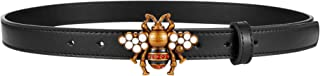 Women's Belts Genuine Leather Fashion Bee Designer Buckle Belt With Pearl Gift Box