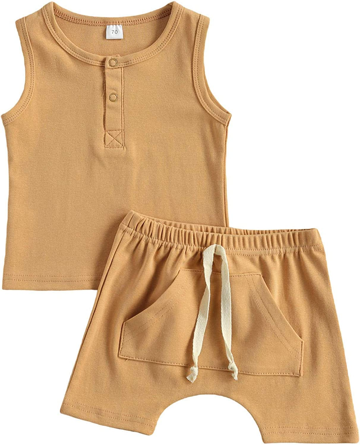 Infant Baby Quality inspection Boys Girls Max 64% OFF Summer Ta Cotton Sleeveless Solid Outfits