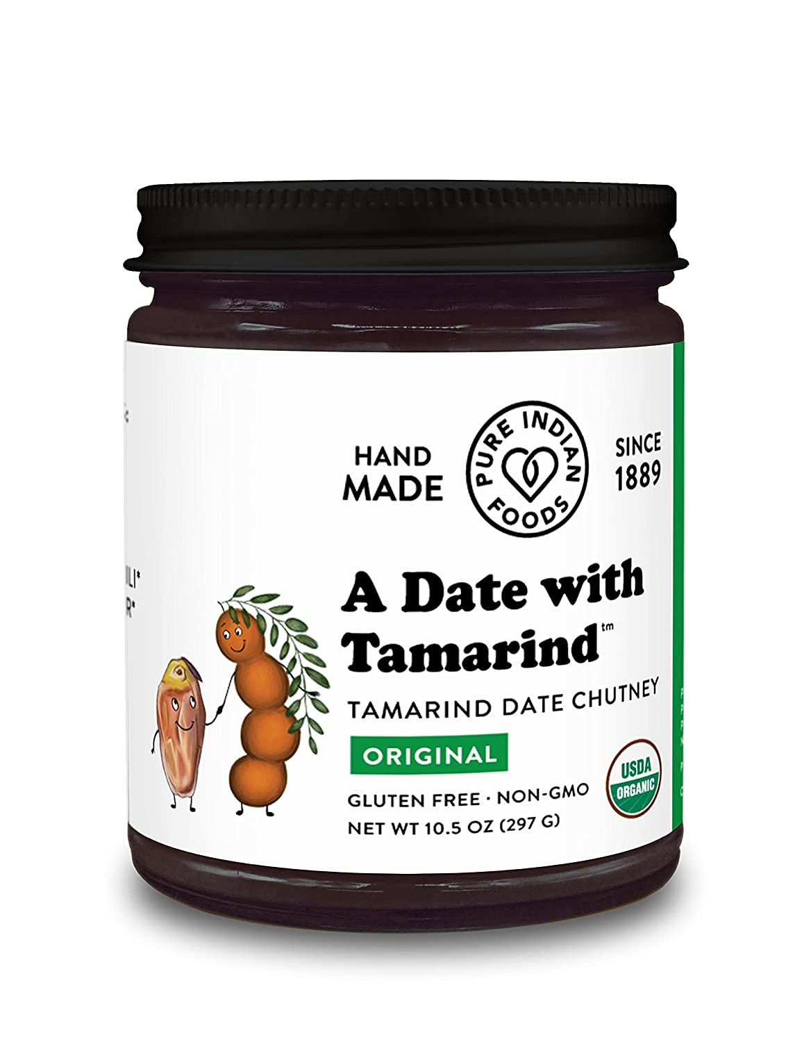 Organic Tamarind Date Chutney Condiment (Indian Preserve) - A Date with Tamarind, Non-GMO, No Sugar Added, Sweet and Sour/Tart Flavor, Glass Jar